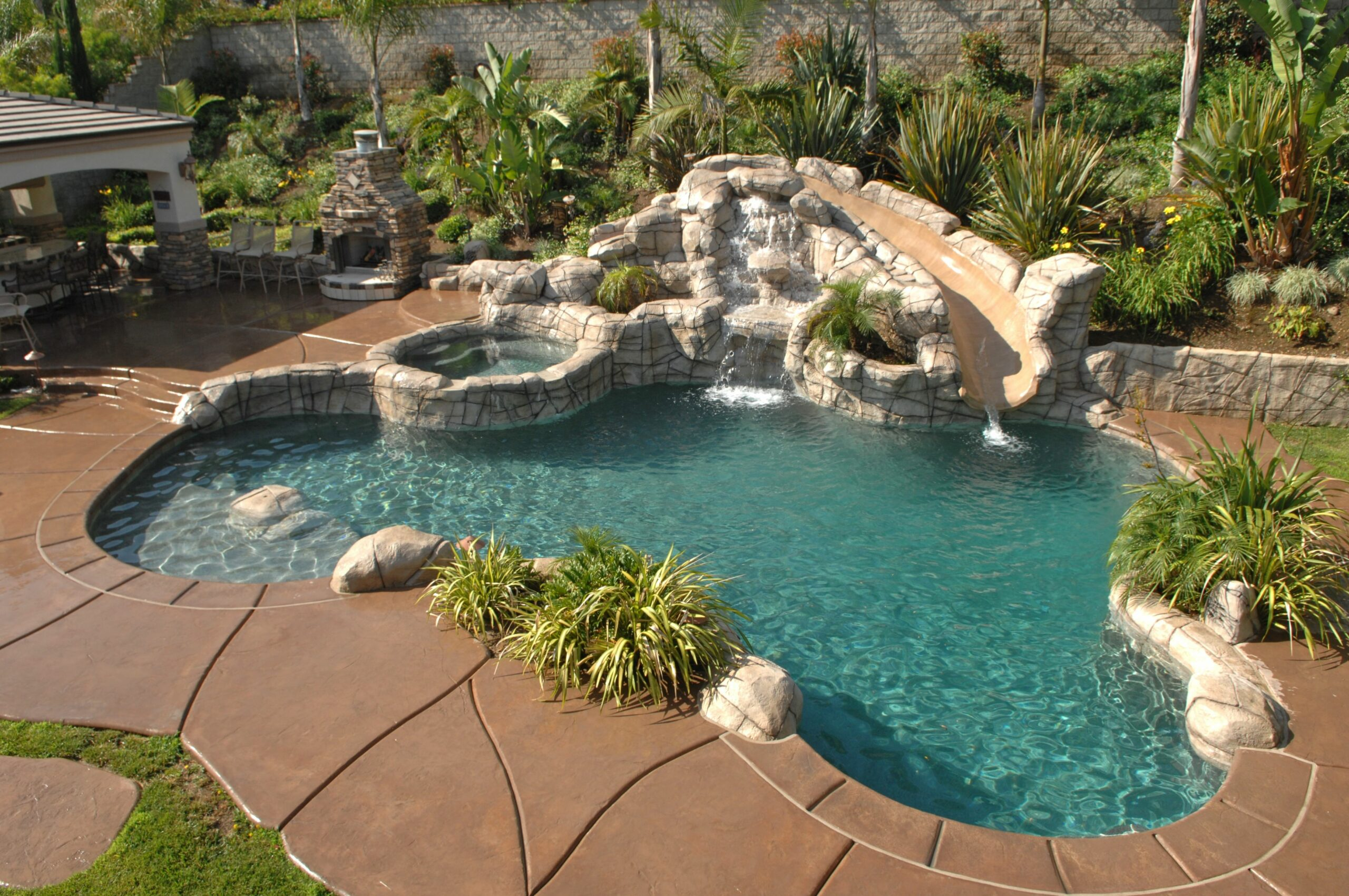 Pool Designs With Rock Slides Gorgeous Swimming Pools Natural Home ...