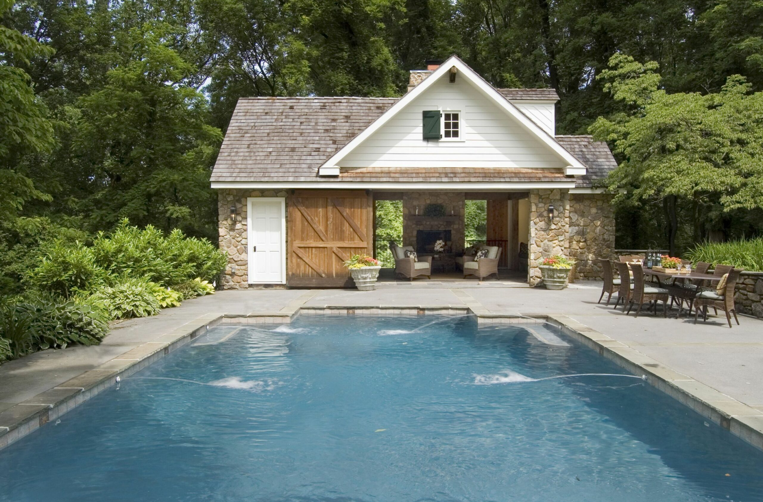 Pool house modeled after a 12th-century colonial farmhouse- look at ...