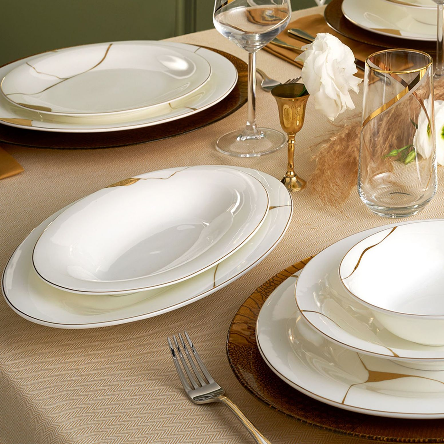 Pre-Order 10 days delivery Karaca Fine Pearl Quora 10 Pieces 10 Person  Pearl Dinner Set 10.10.10