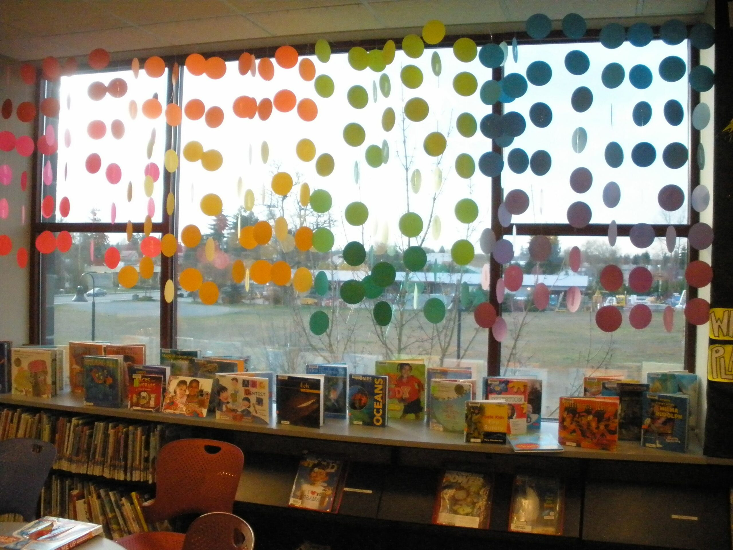 Rainbow window dots. Children's area. (With images)   Classroom ...