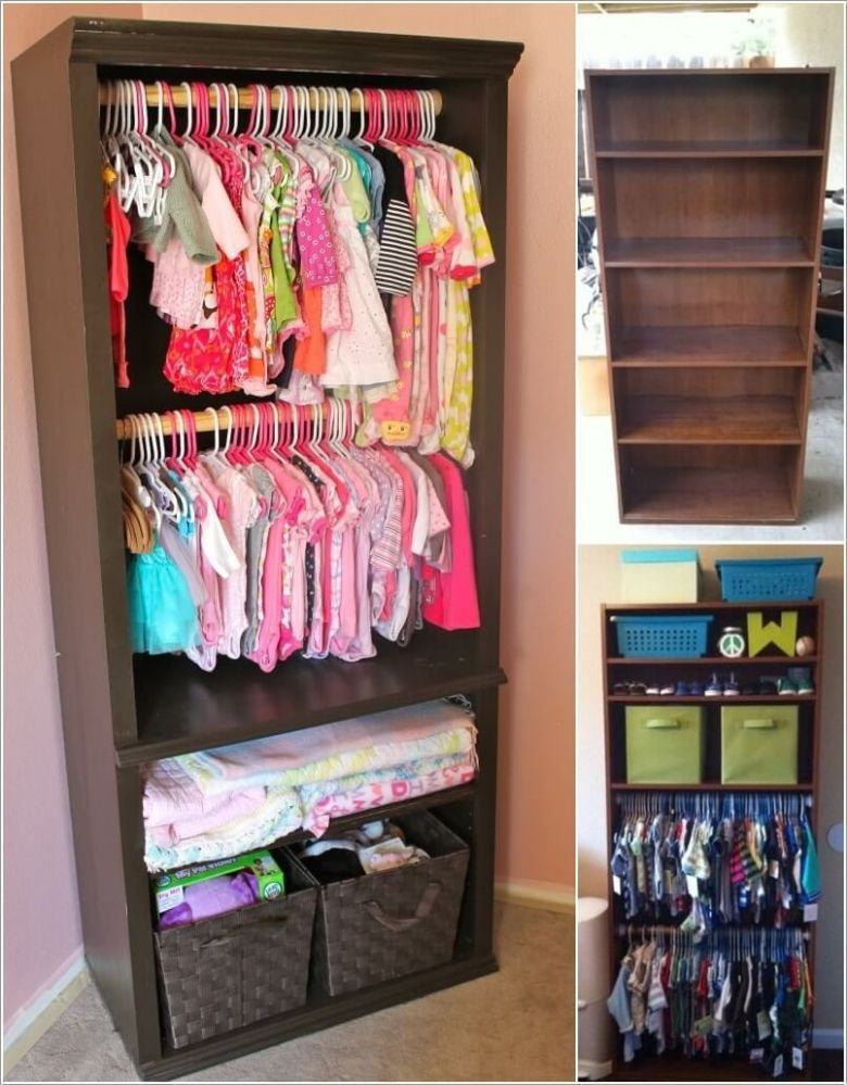 Re-imagine An Old Bookcase Into a Baby Nursery Closet ..