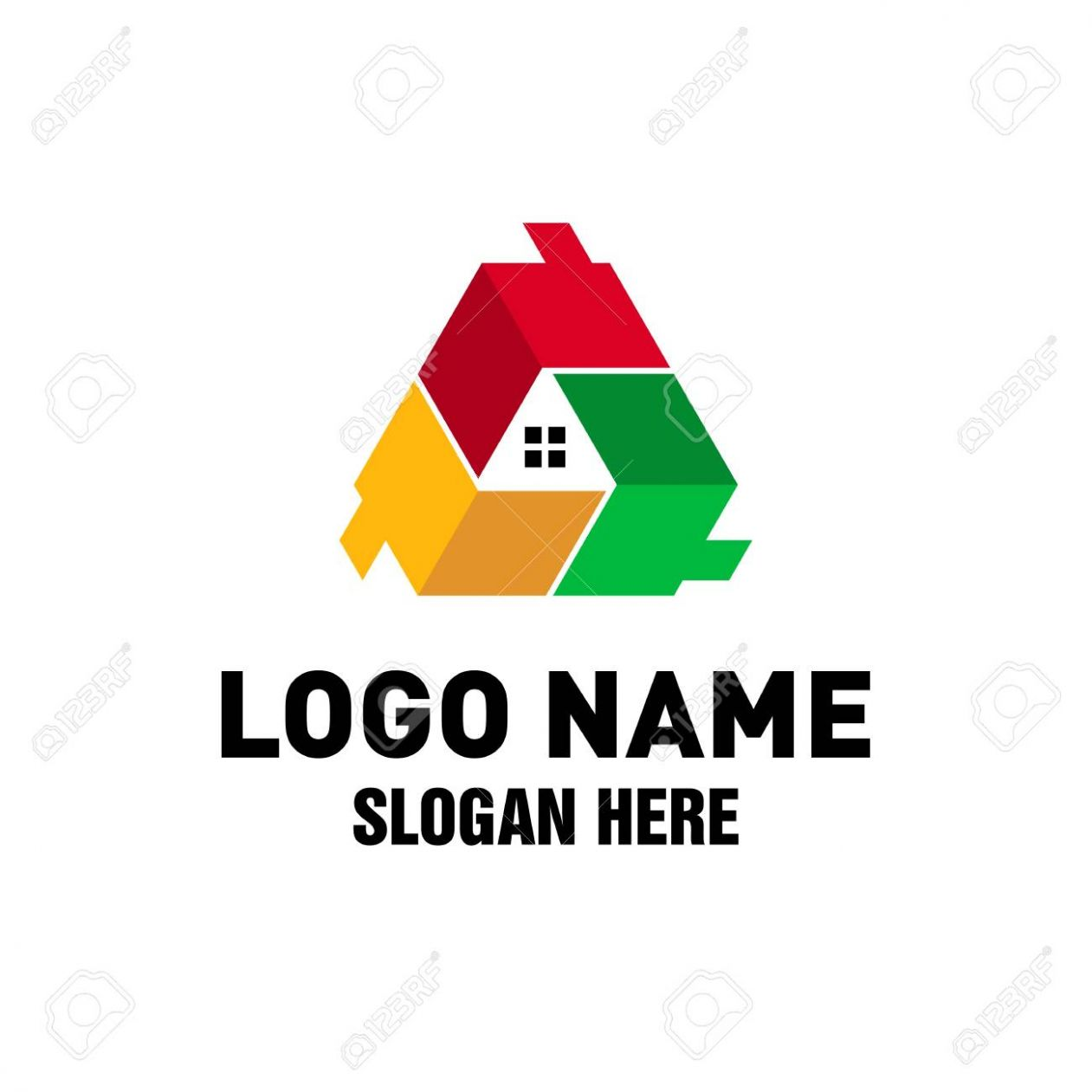 Real Estate Logo Design, Triple House Logo Design Inspiration