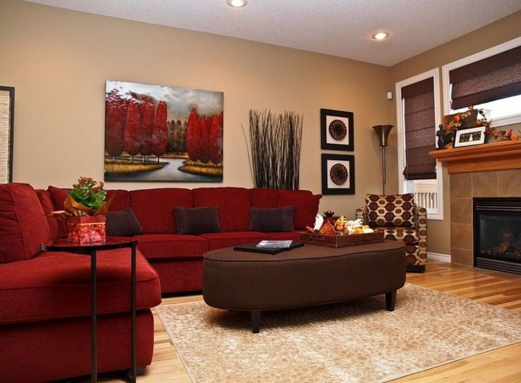 Red and gold living room | Red couch living room, Red sofa living ..
