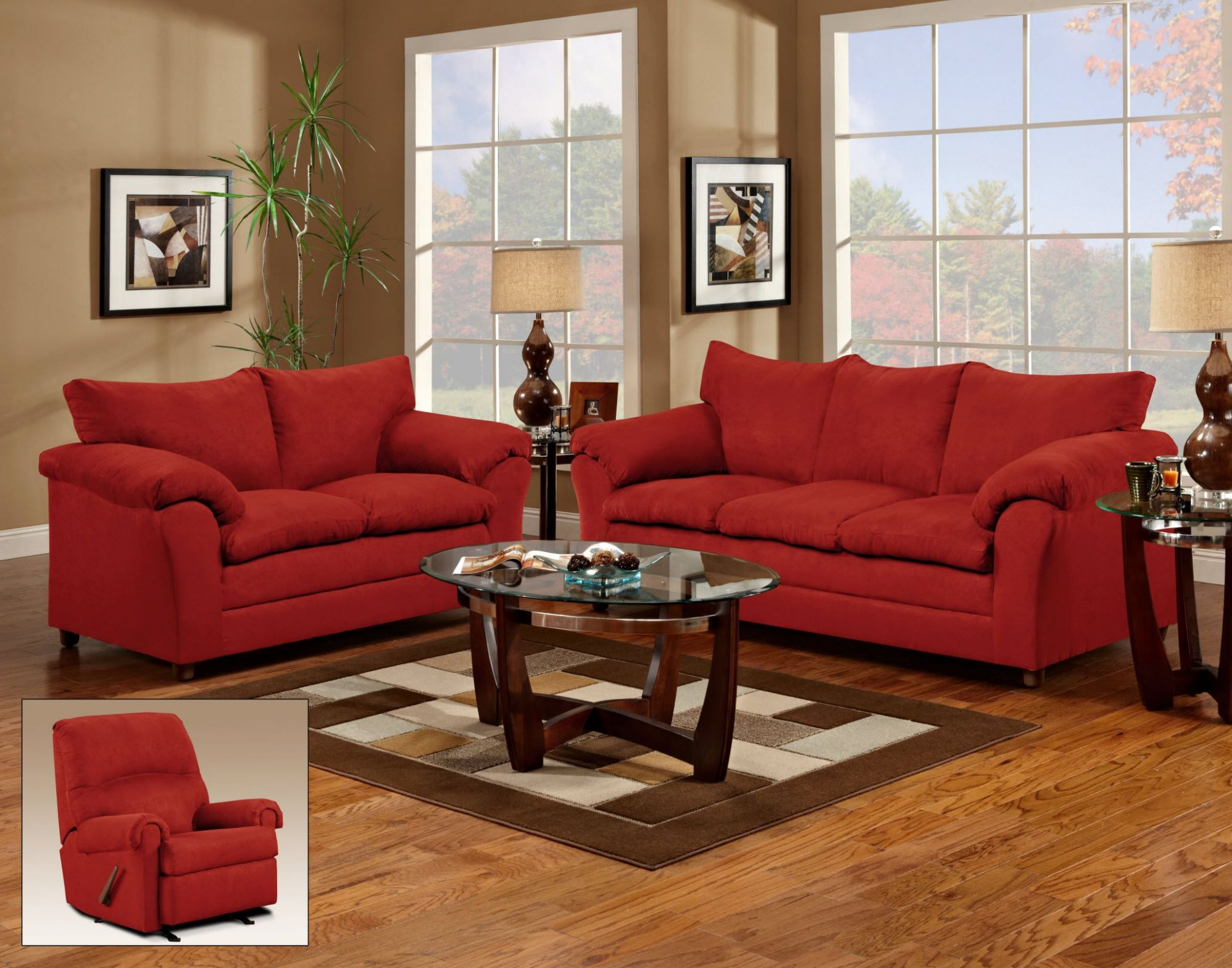 Red Couch and Loveseat - living room | Red couch living room ..
