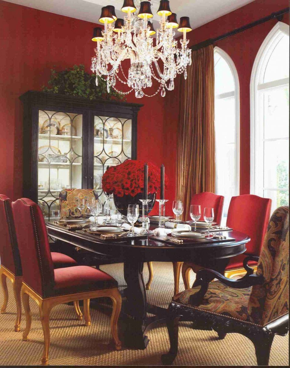 Red dining room with white trim and this dining room table....*mix ..