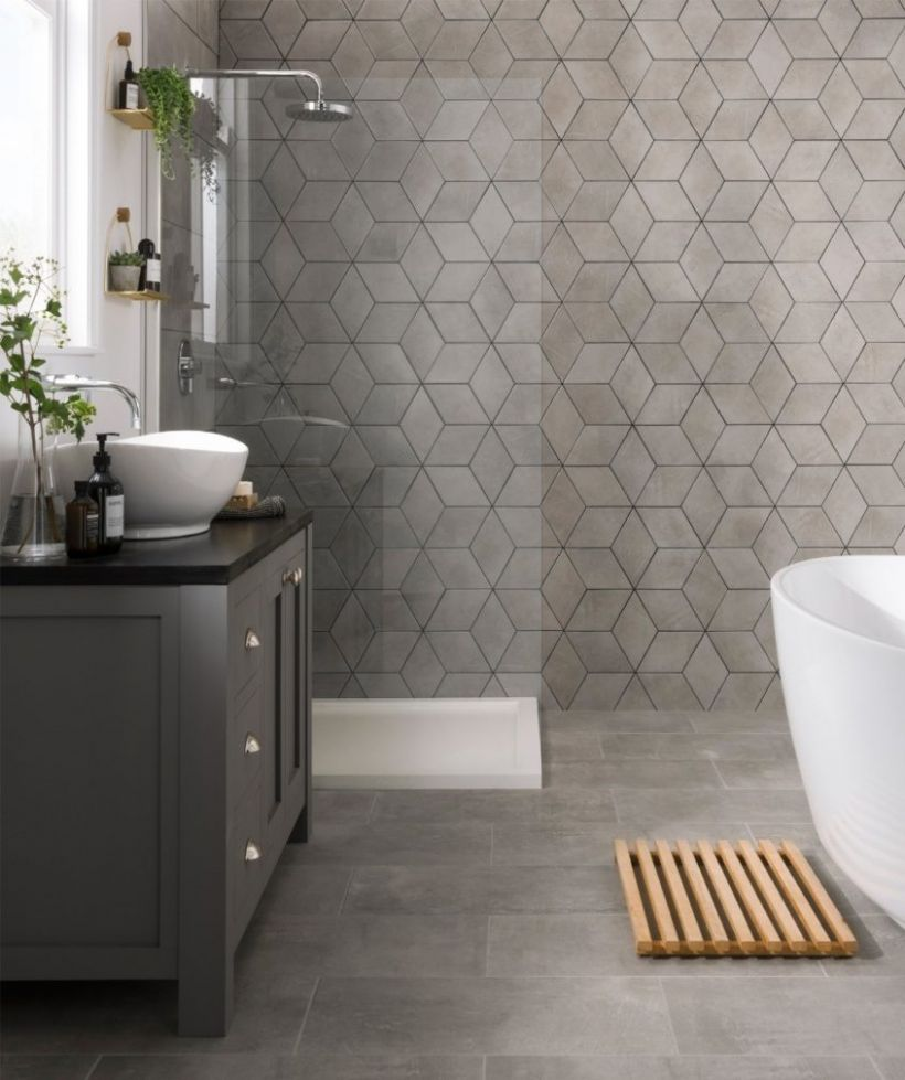 Rhomba Tekno Grey Tile Bathroom Ideas For Small Bathrooms ..