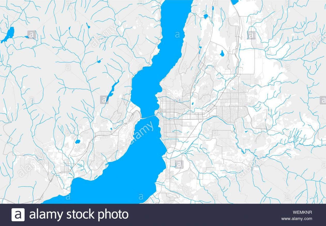 Rich detailed vector area map of Kelowna, British Columbia, Canada ..