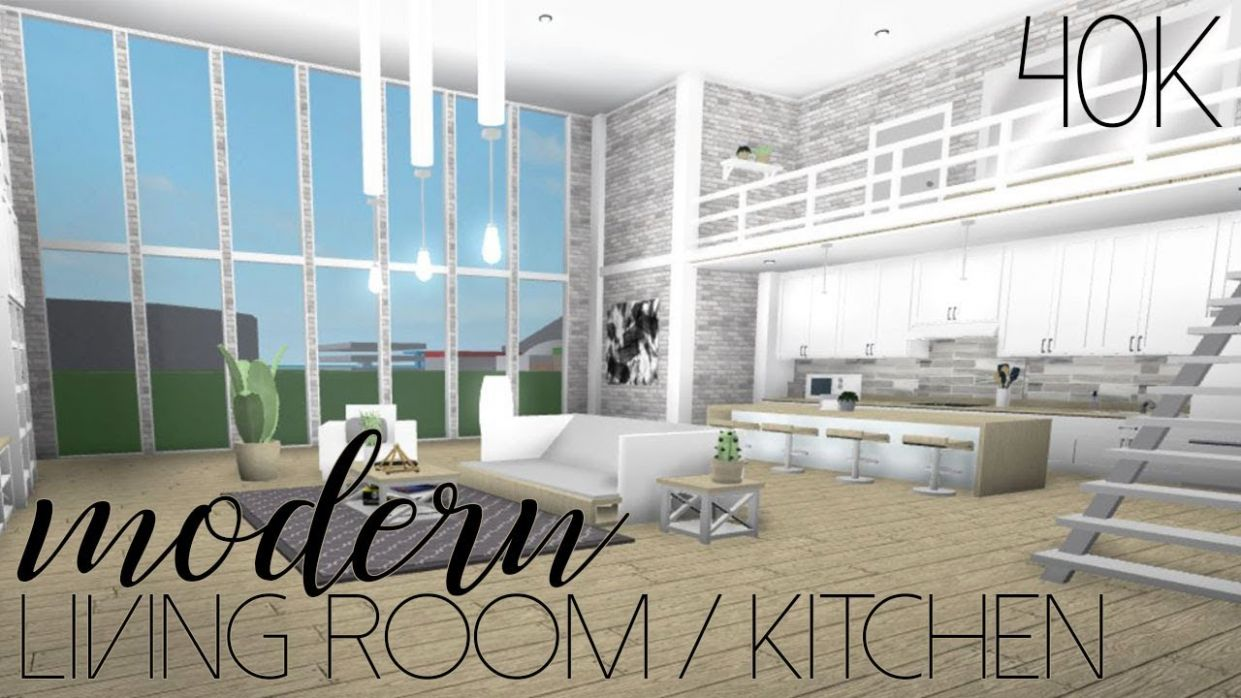 ROBLOX | Welcome to Bloxburg: Modern Living Room/Kitchen 11k - living room ideas bloxburg