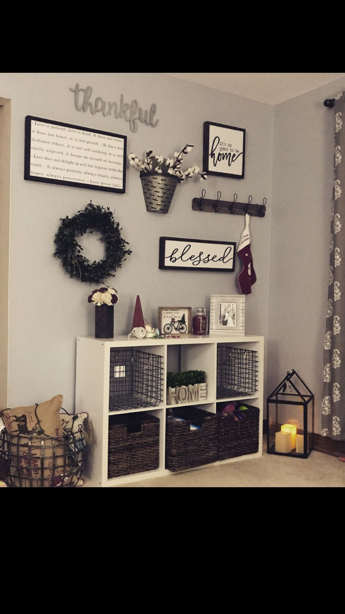 Rustic/farmhouse feel in the living room. Finds from hobby lobby ..