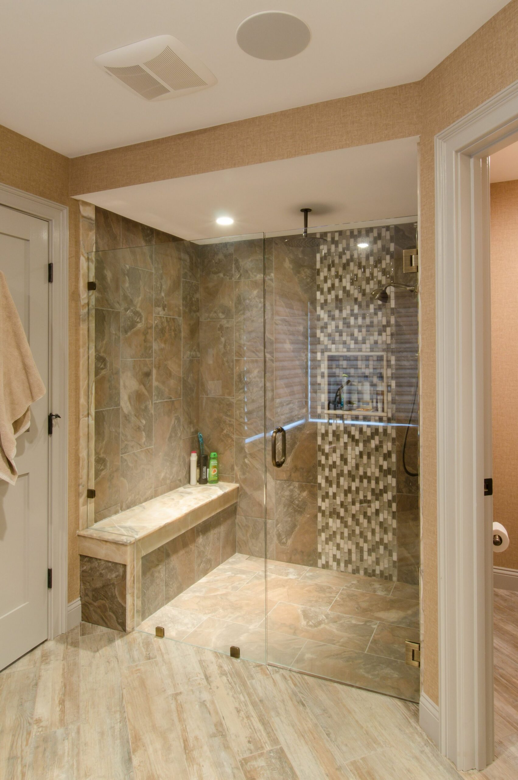 Shower Ideas - large tile shower with custom shower seat, vertical ..
