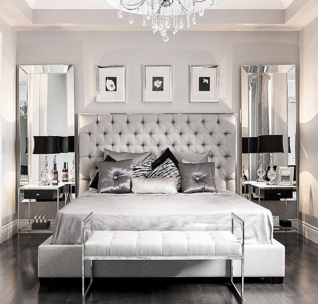 Silver Grey And White Bedroom Ideas (With images) | Glamourous ..