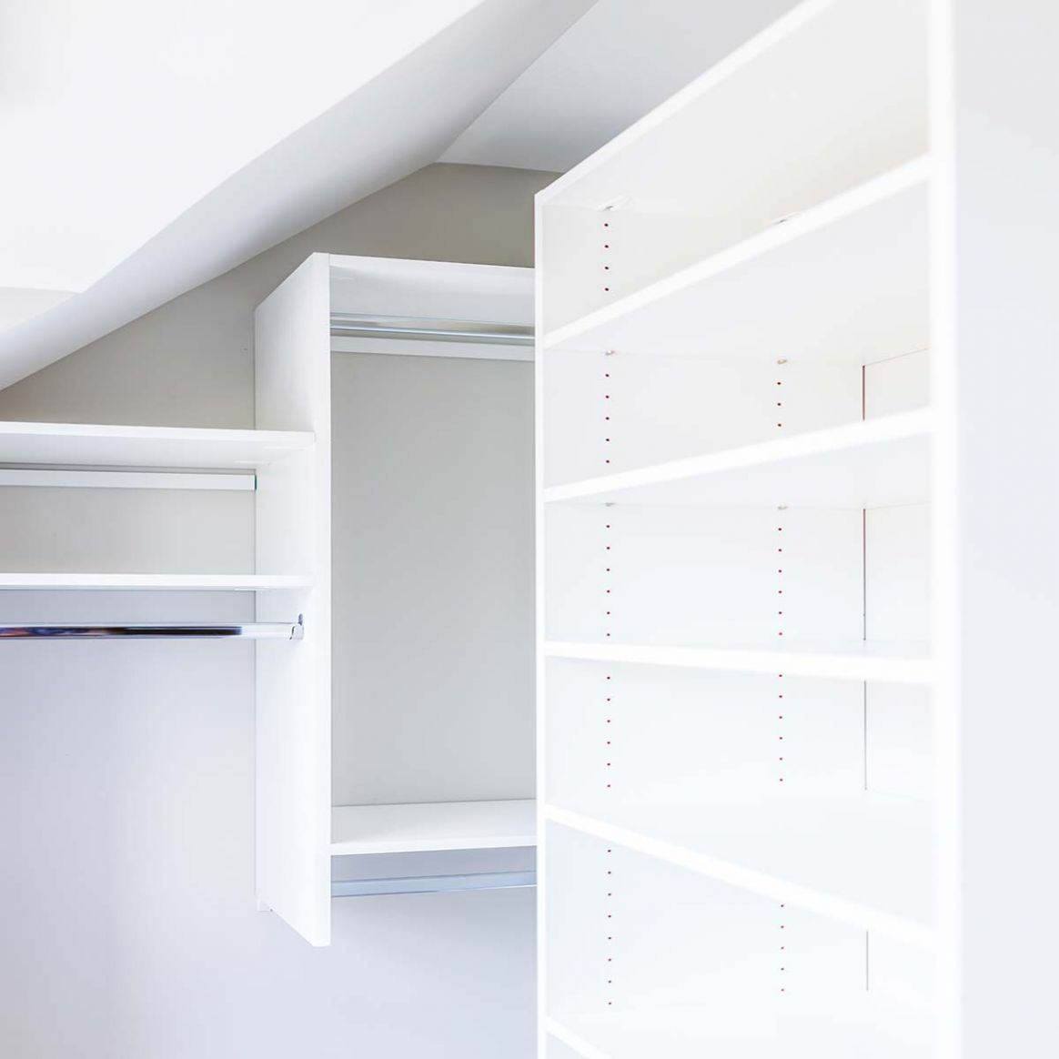 Sloped Ceiling Closets • Queen Bee of Honey Dos - vaulted closet ideas