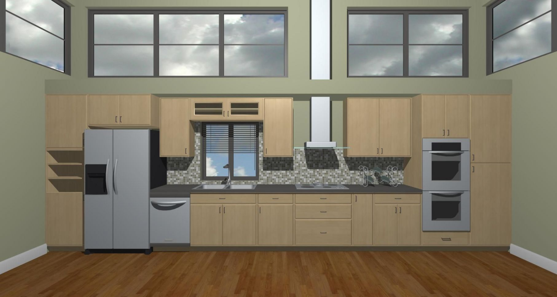 Straight Line Kitchen - closest design to what we want   Straight ...
