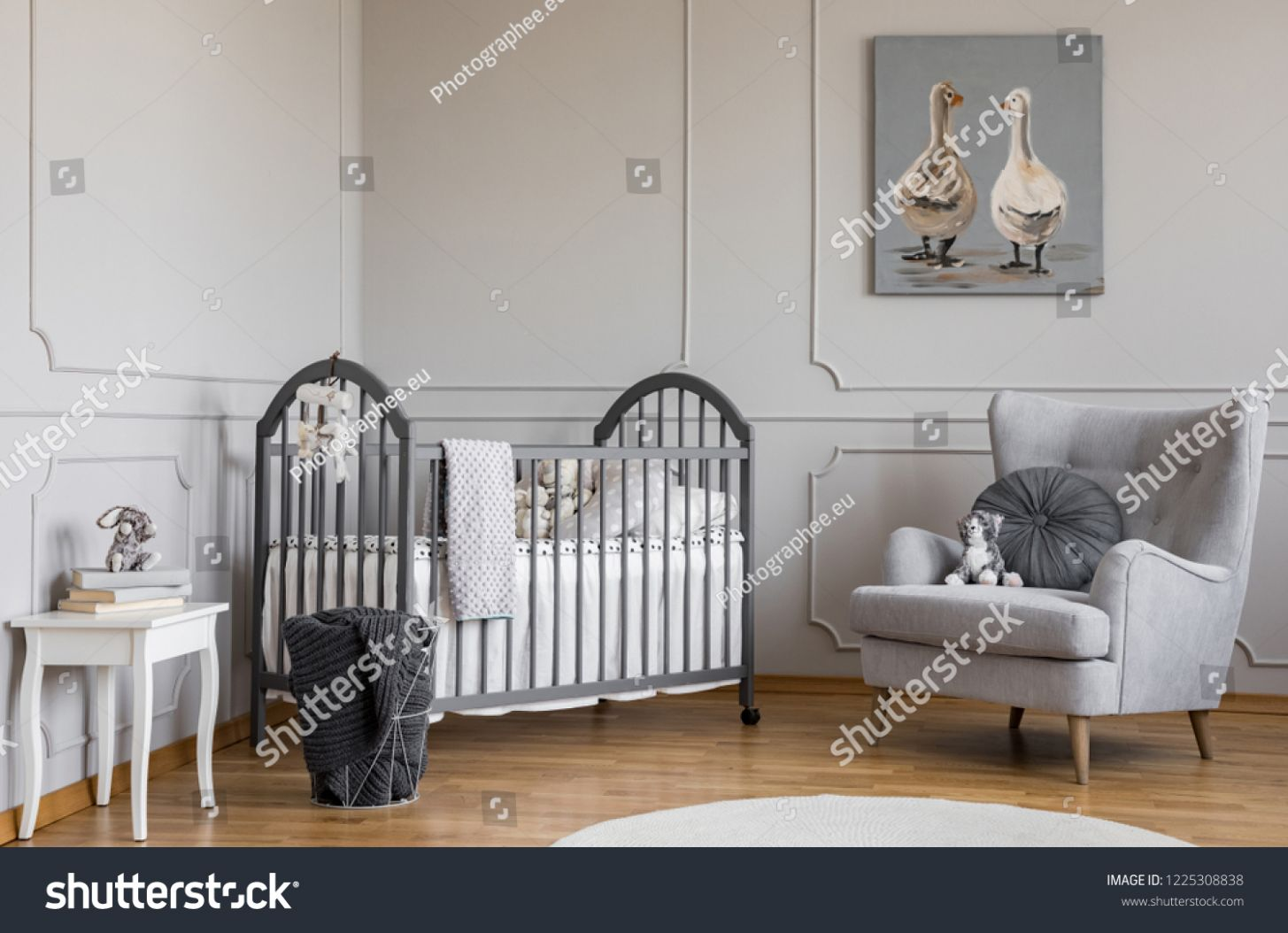 Stylish Grey Baby Room Wooden Crib Stock Photo (Edit Now) 9