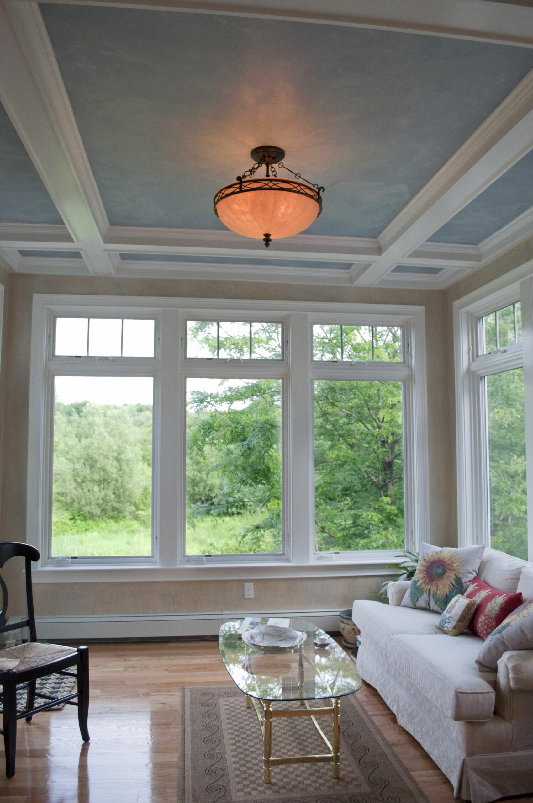 Sunroom addition, by PNB. Coffered ceilings with faux painted ...