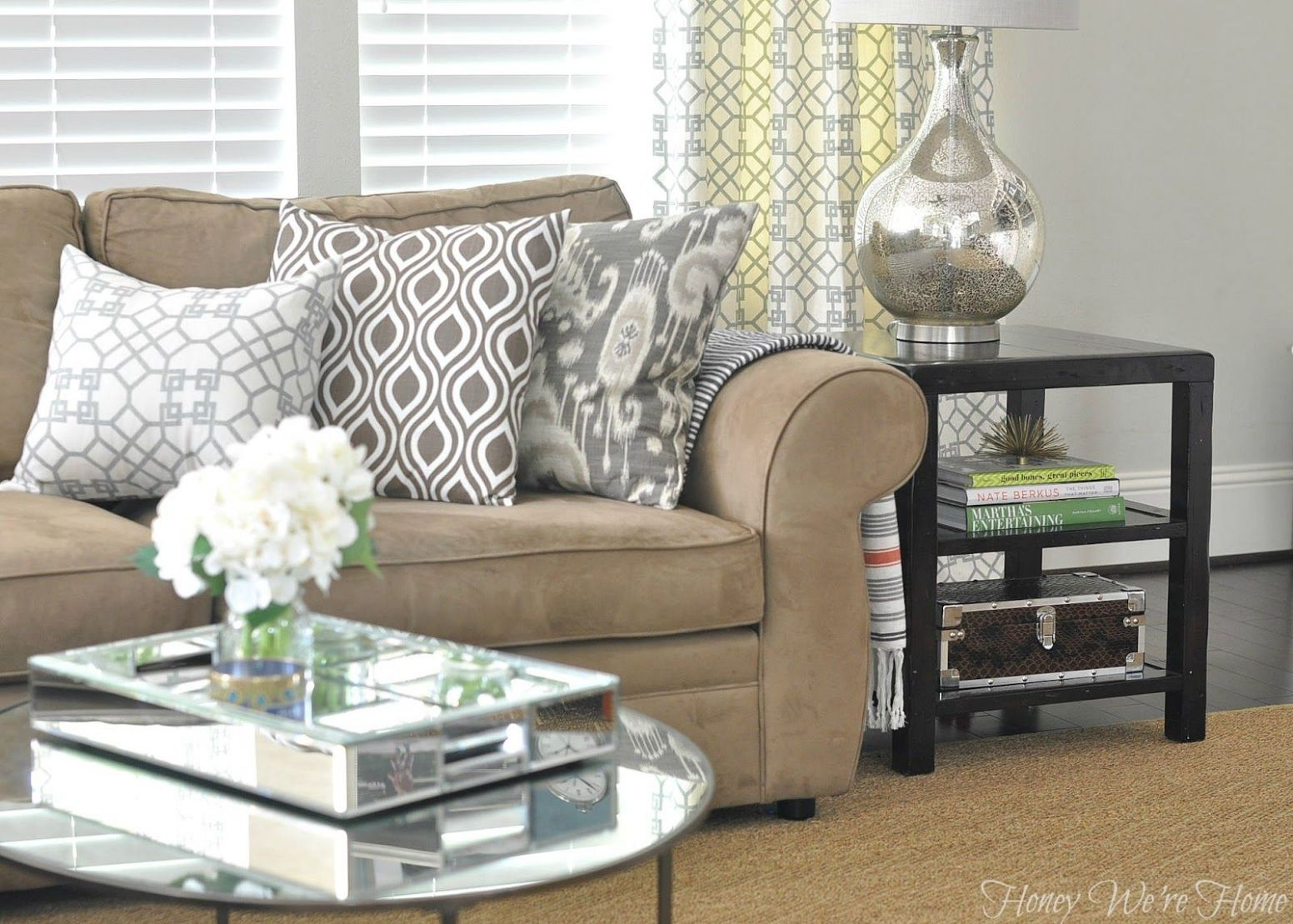 Tan furniture with gray walls. (With images) | Tan couch living ..