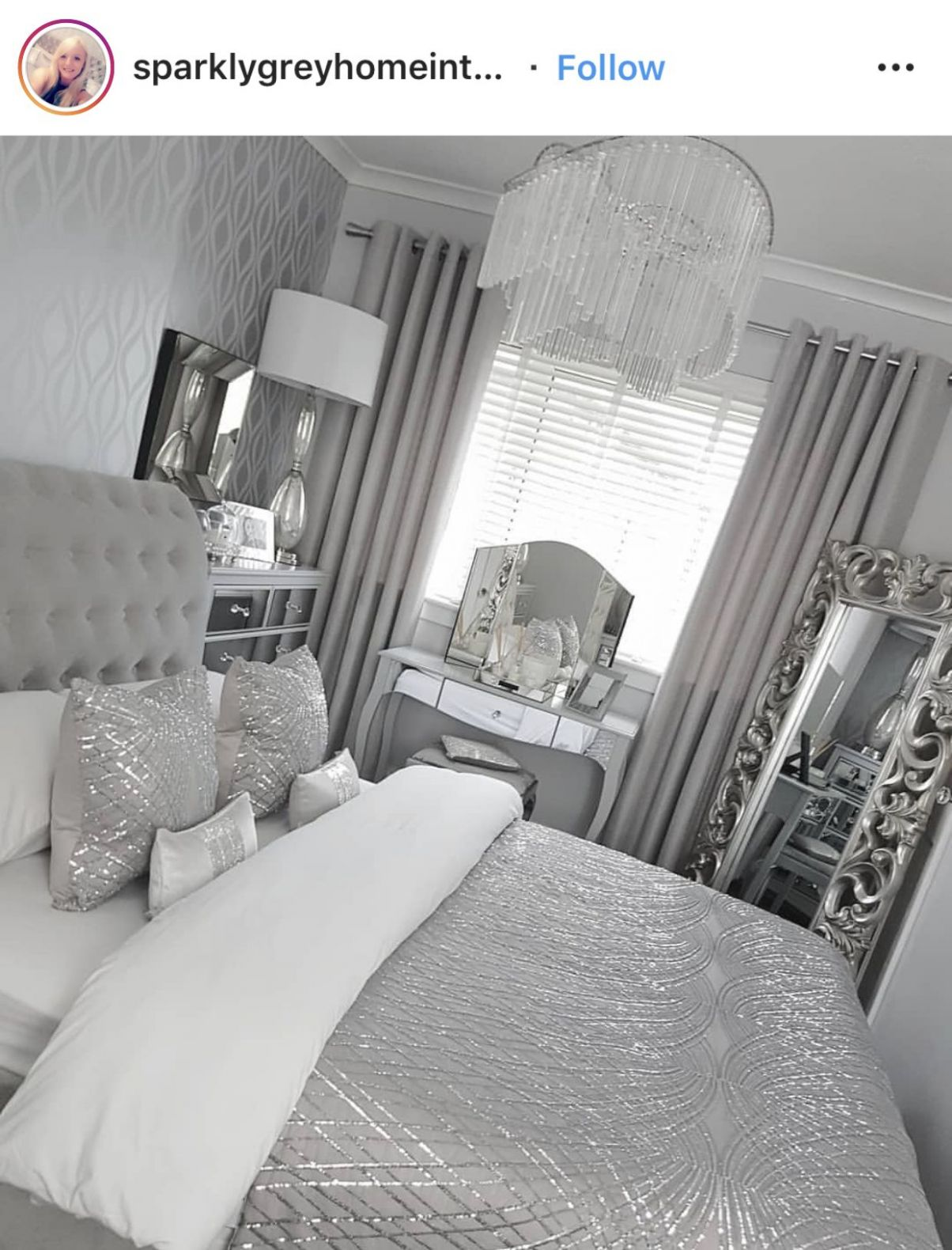 The bedspread is pretty but all that silver is too much in one ..