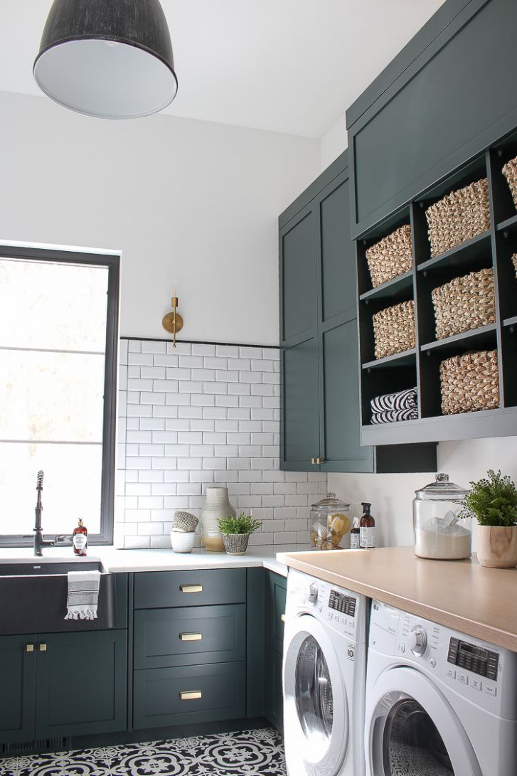 The Laundry/Dog Room: Dark Green Cabinets Layered On Classic Black ...