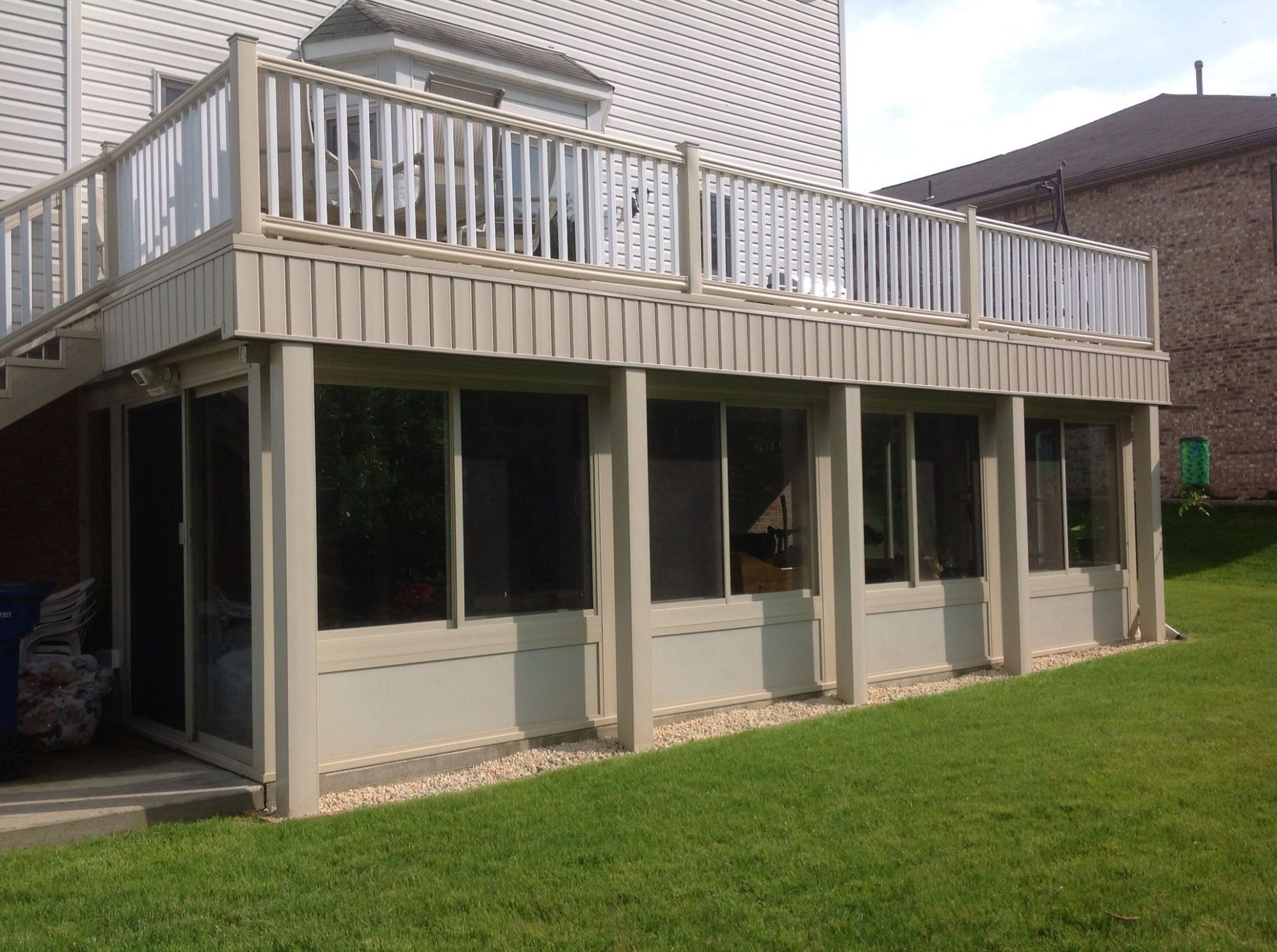 This is an all season sunroom we built under our composite deck ...