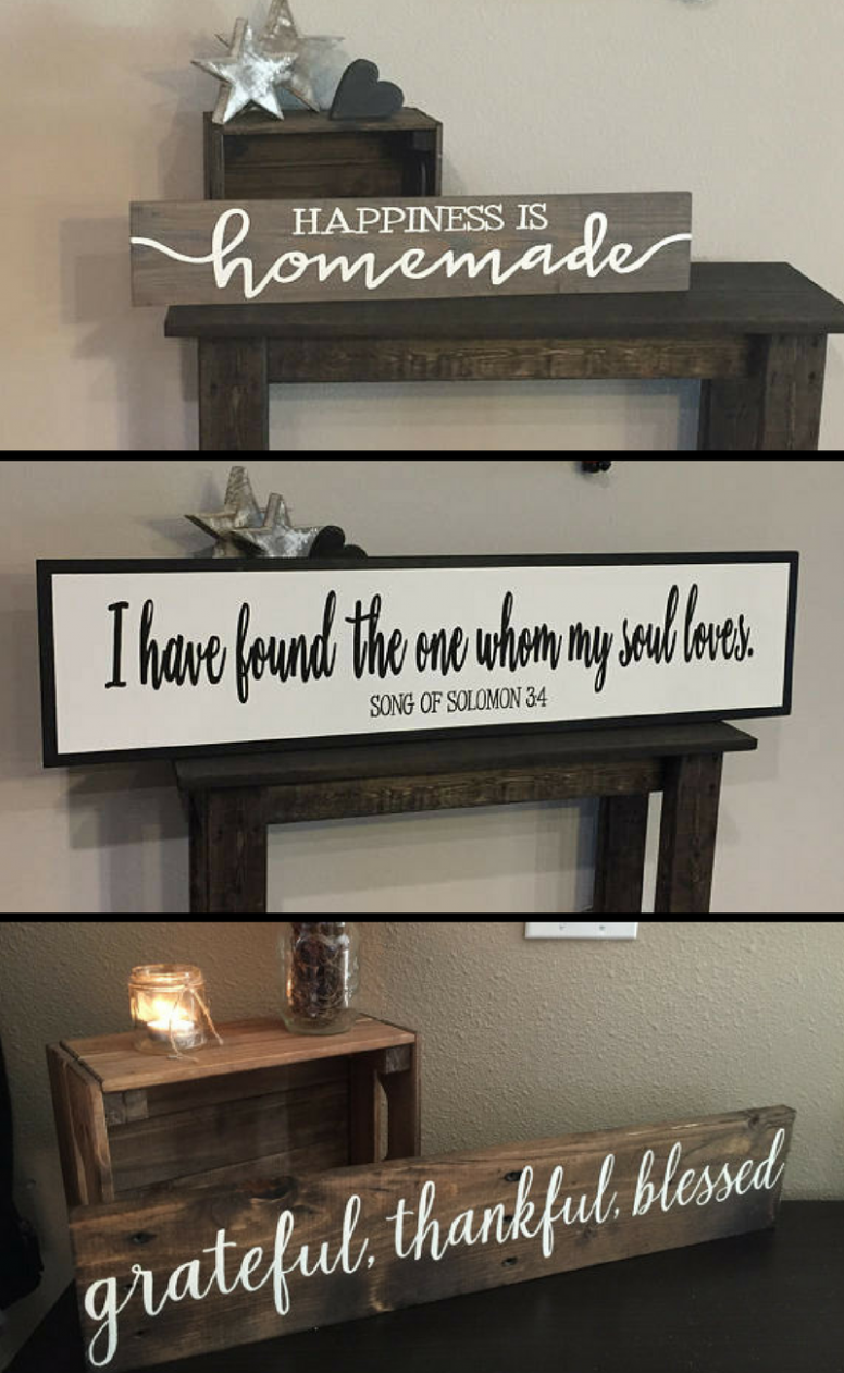 This shop has SO many cute wooden home decor signs! I want them ..