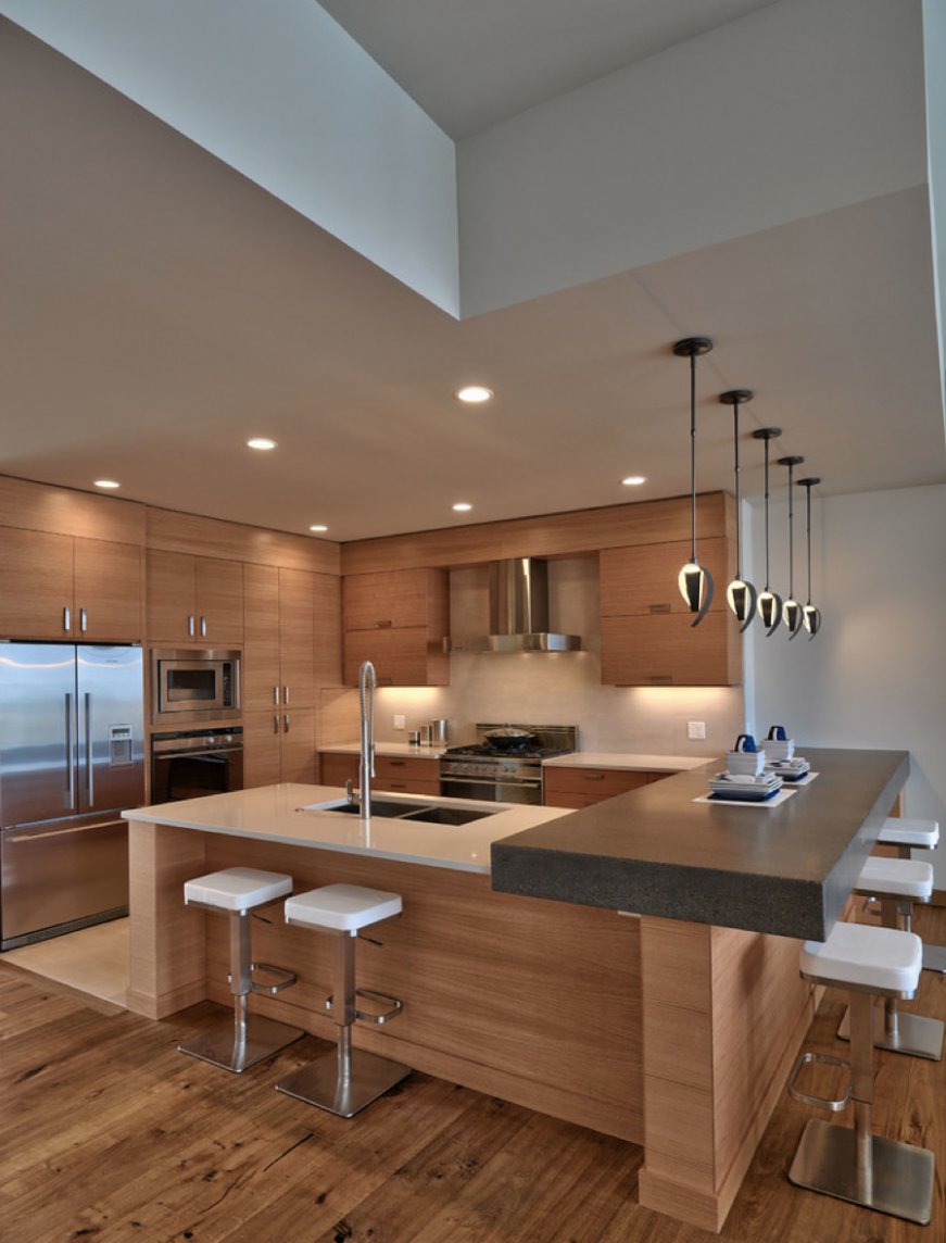 """This very zen kitchen - Houzz.com """"Grain and wood type on cabinets ..."""