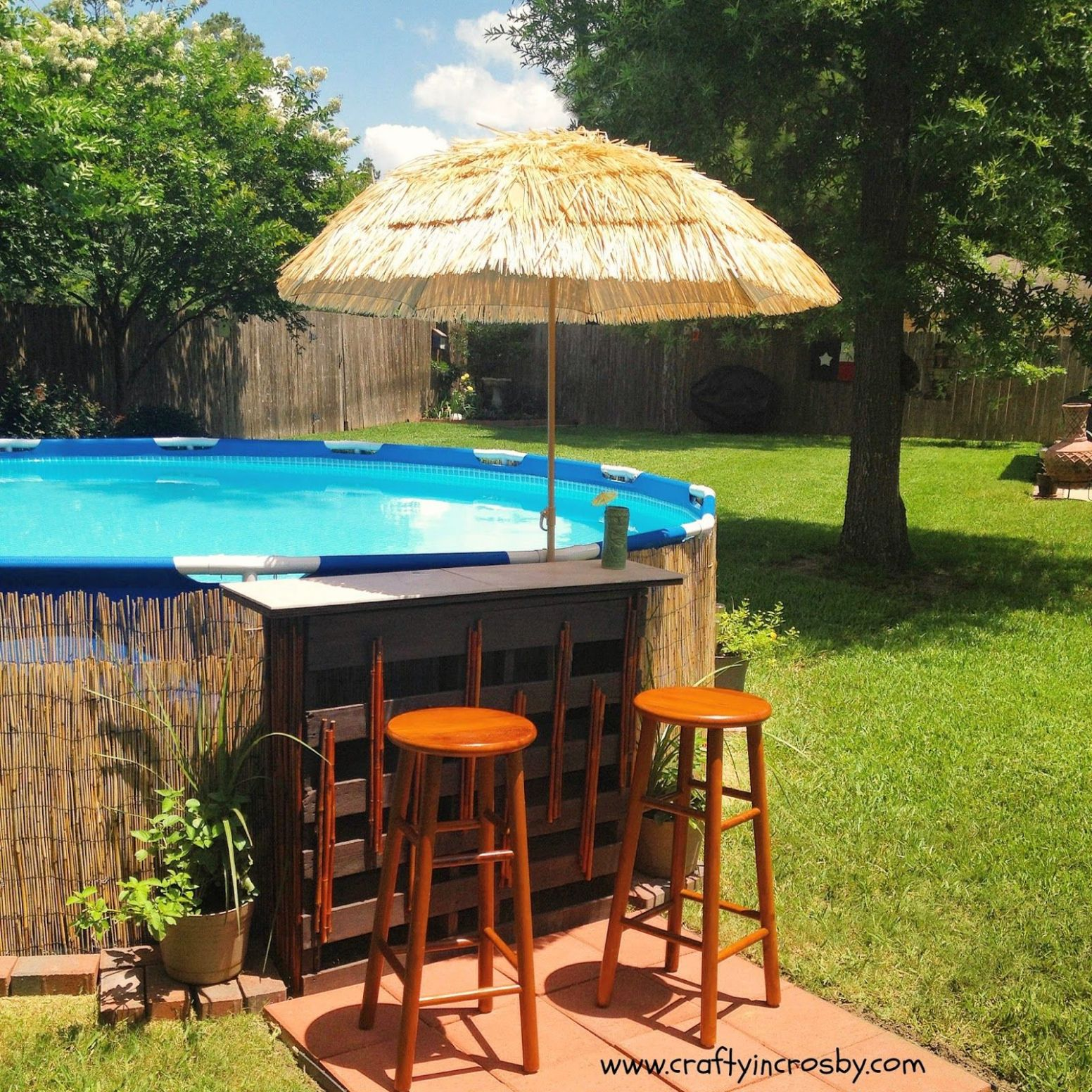 Tiki Bar Update (With images) | Swimming pool landscaping, Above ...