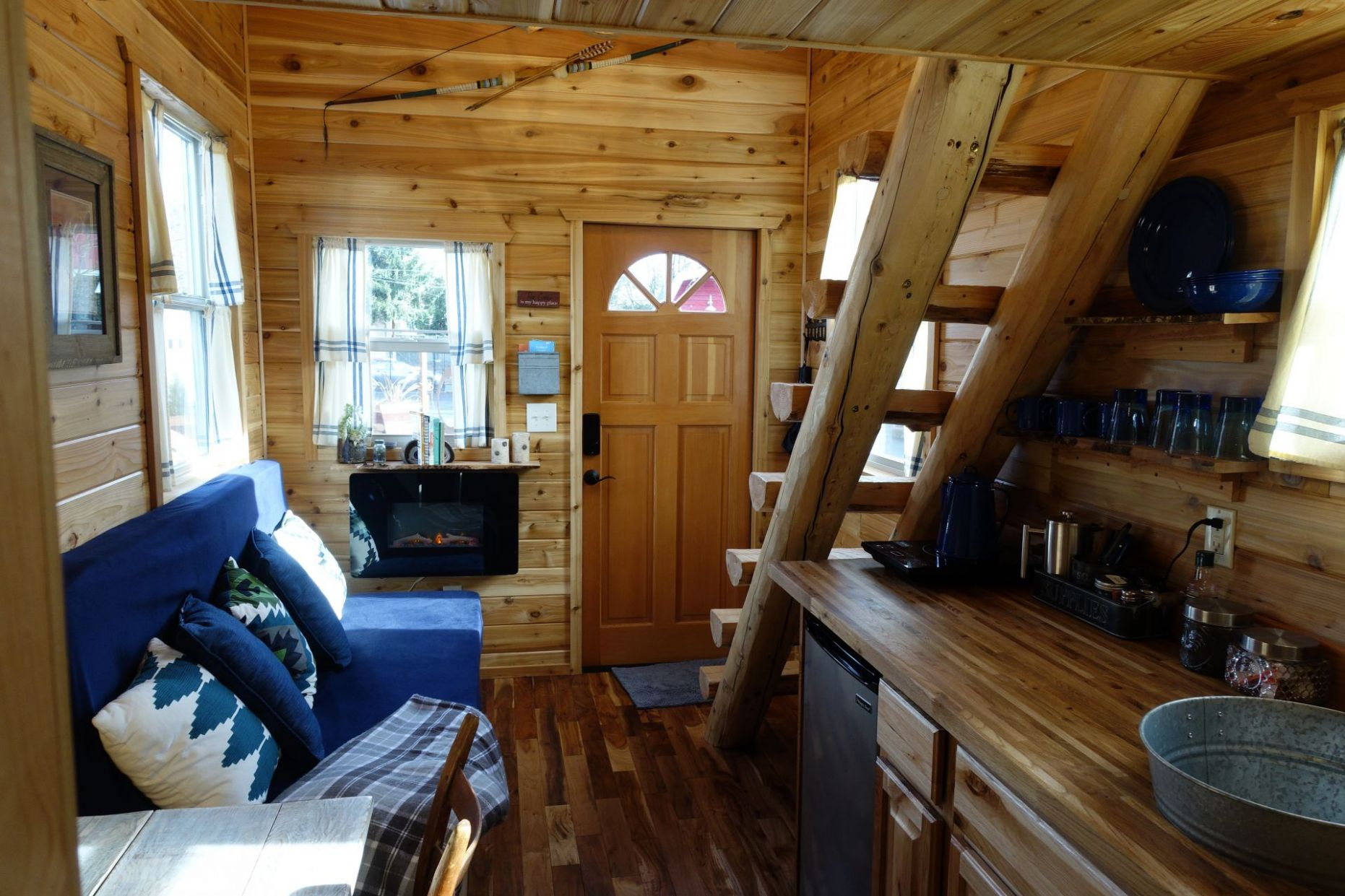 Tiny Log Cabin On Wheels is Available for Rent In Portland, Oregon