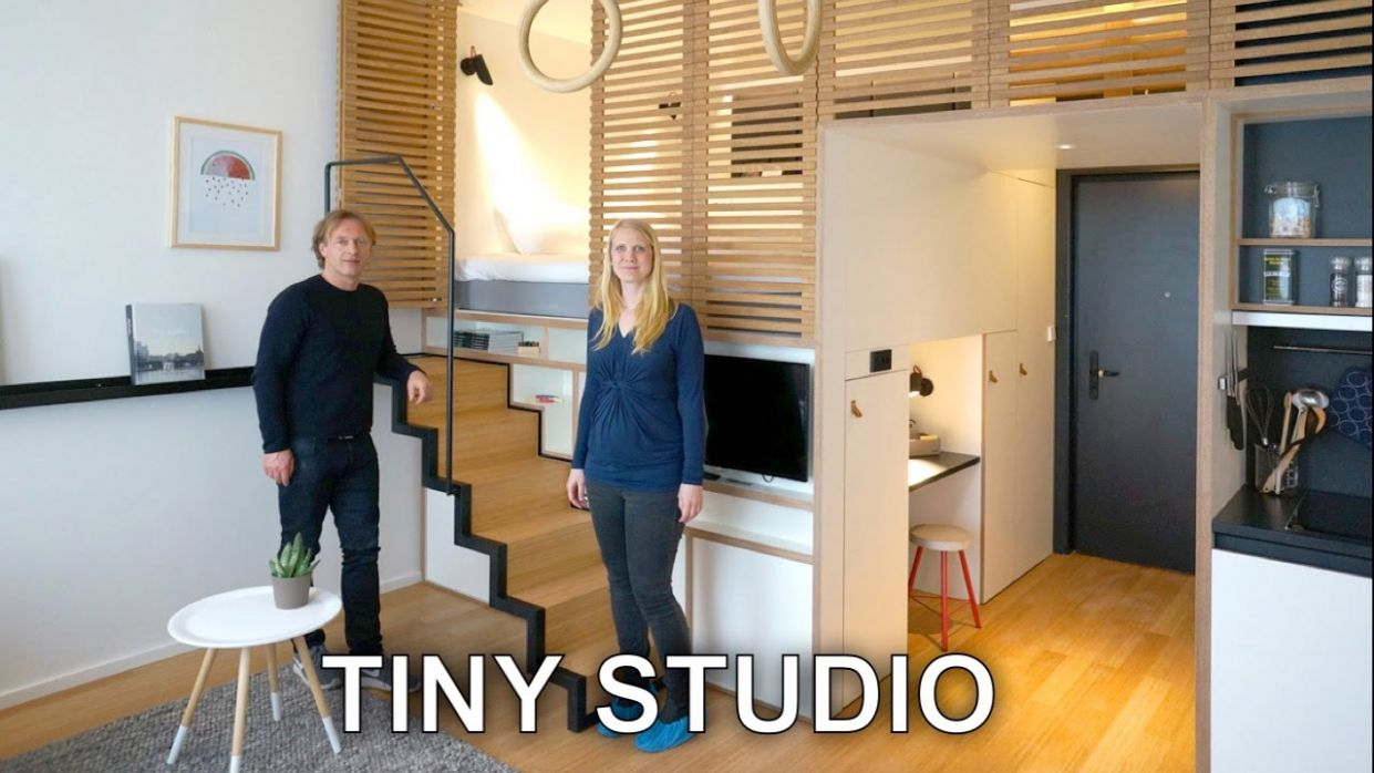 Tiny Studio Apartment - Sleeping Loft and Moving Staircase (Zoku) - small apartment design youtube