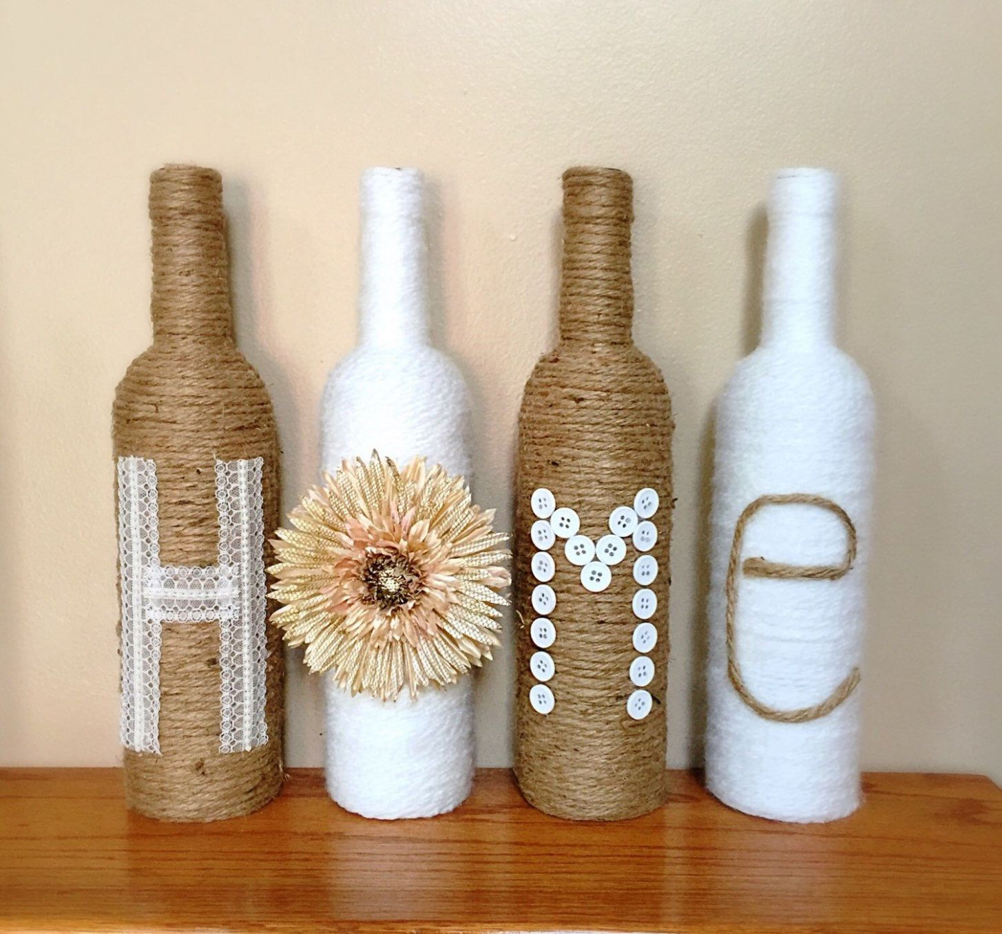 Twine Wrapped Wine Bottles, Rustic Home Decor, Decorated Wine ..