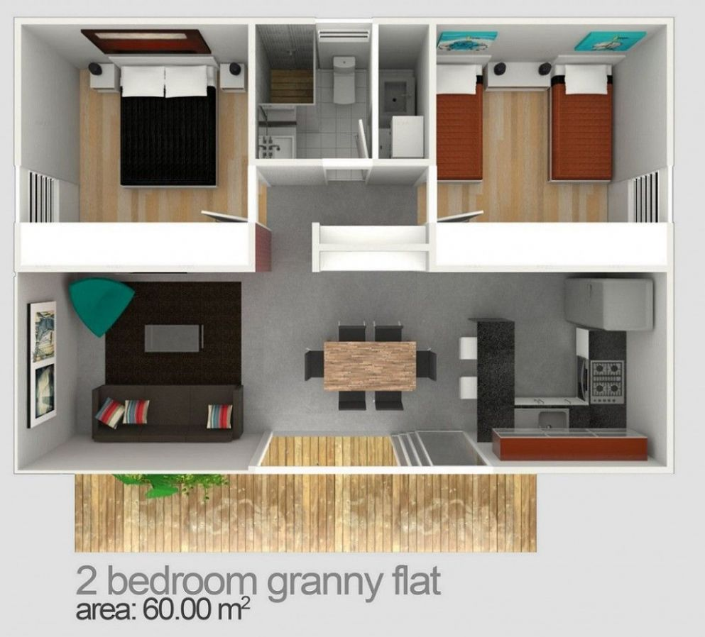 Two Bedroom Granny Flat Designs & Plans (With images) | Small ...
