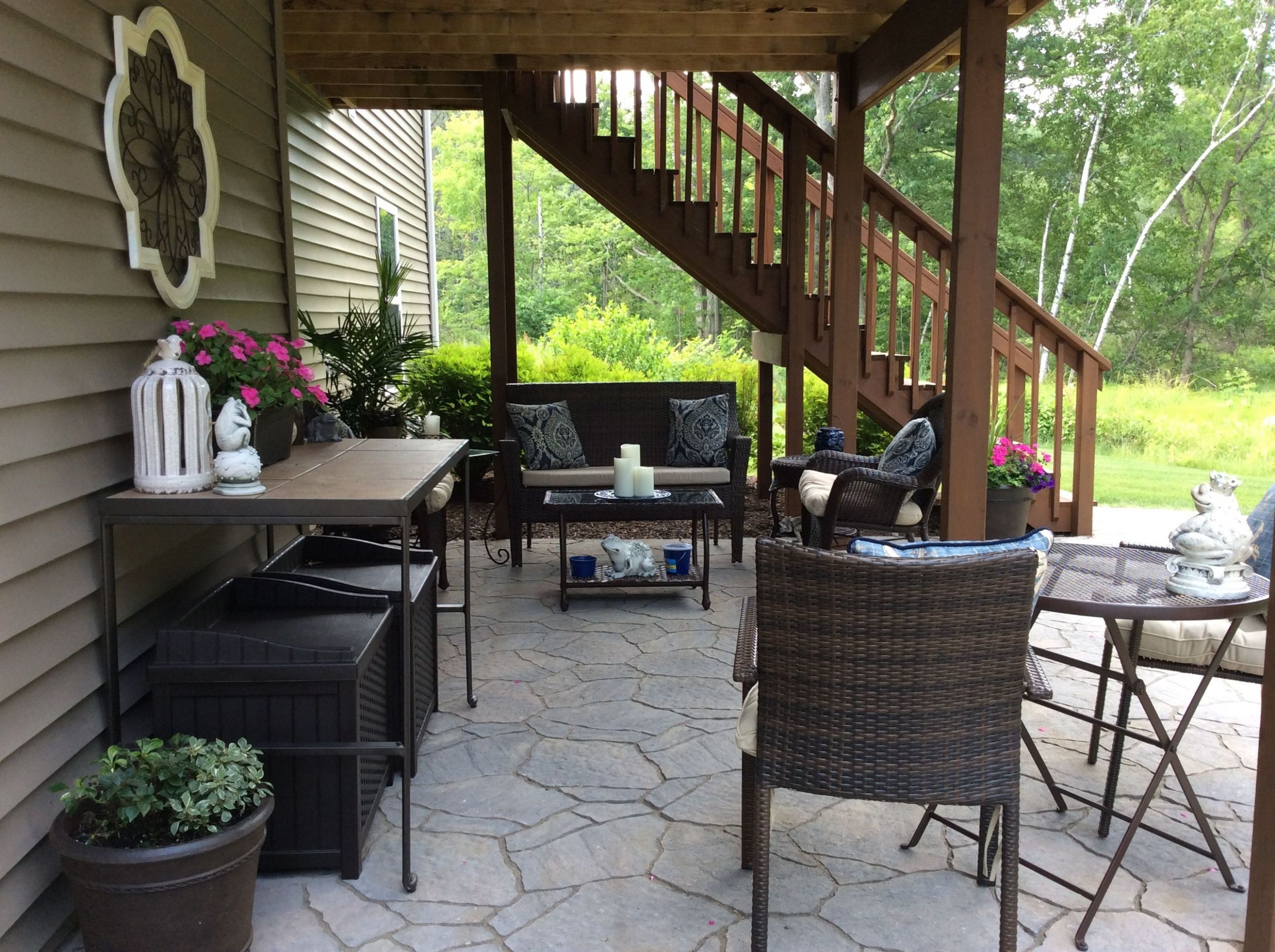 Under deck patio | Patio under decks, Patio layout, Decks backyard