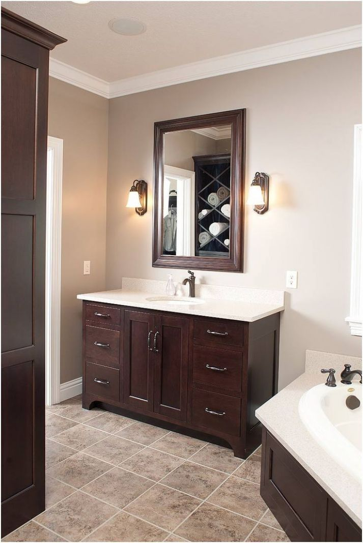Unique Bathroom Paint Colors With Oak Cabinets (Dengan gambar)