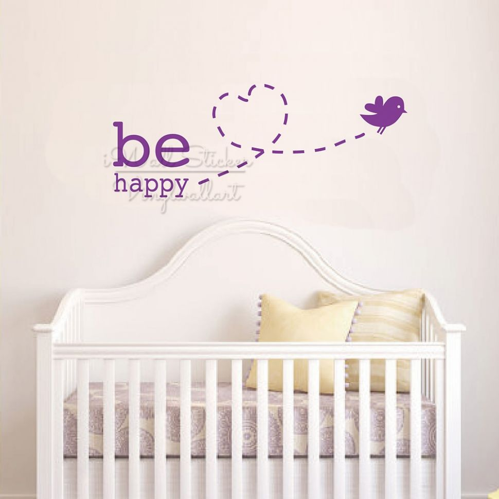 US $10.10 10% OFF|Be Happy Baby Room Quotes Wall Sticker Bird Nursery Wall  Quotes Decal Removable Children Room Quote Wall Decor Cut Vinyl Q10|Wall  ...