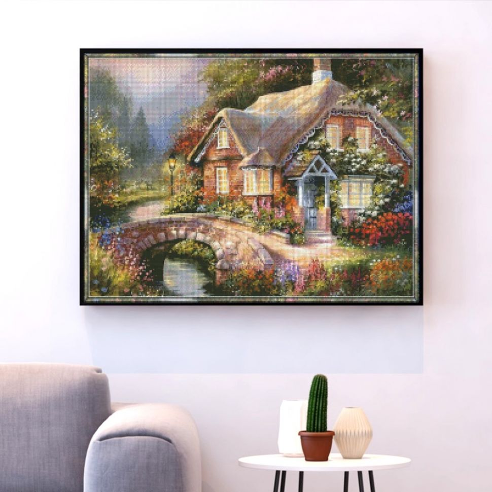 US $10.10 10% OFF|HUACAN Embroidery Village House Scenery Needlework Sets  Cross Stitch Landscape Kits White Canvas DIY Home Decor 10CT ..