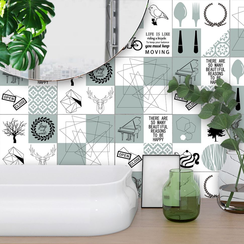 US $10.710 10% OFF|Funlife Modern Design Self adhesive Kitchen Tiles Wall  Stickers,Nordic Art Decal DIY Home Decor Waterproof Bathroom Stickers|Wall  ...