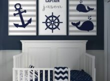 US $11.11 11% OFF|Anchor Whale Wall Art Nautical Nursery Decor Canvas Art  Prints Navy Blue Gray Boy Name Personalized Children Baby Room ...