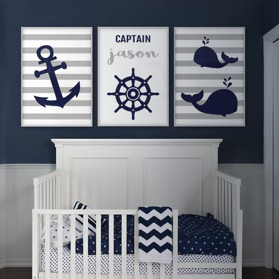 US $11.11 11% OFF Anchor Whale Wall Art Nautical Nursery Decor Canvas Art  Prints Navy Blue Gray Boy Name Personalized Children Baby Room ..