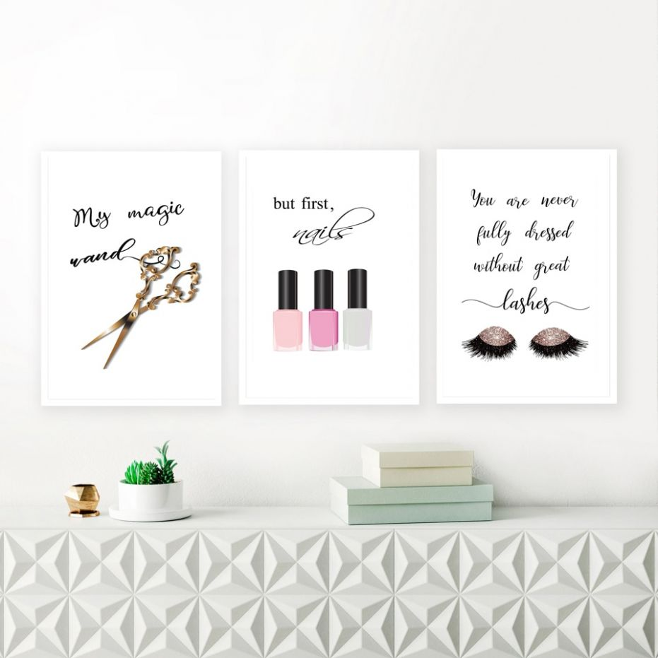 US $11.11 |Makeup Quote Canvas Art Prints Nail Polish Lashes Poster Canvas  Painting Wall Picture For Girl Lady Dressing Room Art Decoration|Painting &  ...