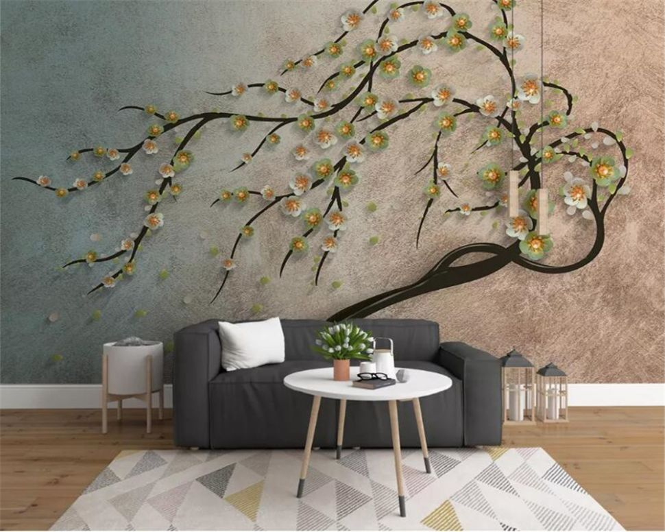 US $11.115 11% OFF|beibehang Custom Any Size 11D Wall Mural Wallpaper Home  Decor Tree flower Landscape Wall Painting photo 11d Wallpaper papier ..