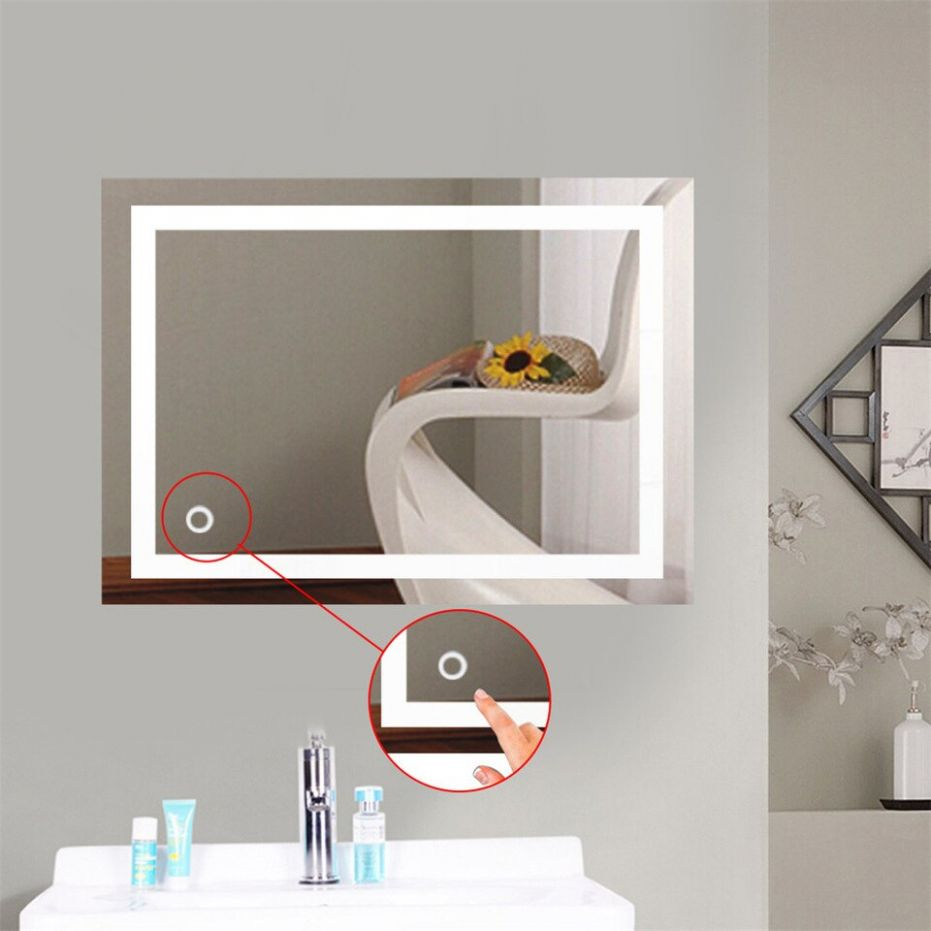 US $12.12 12% OFF|New Stylish Bath Mirror LED Light up Cosmetic Mirror Wall  Mount Makeup Mirror With Touch Button For Home Hotel Bathroom HWC|Bath ...