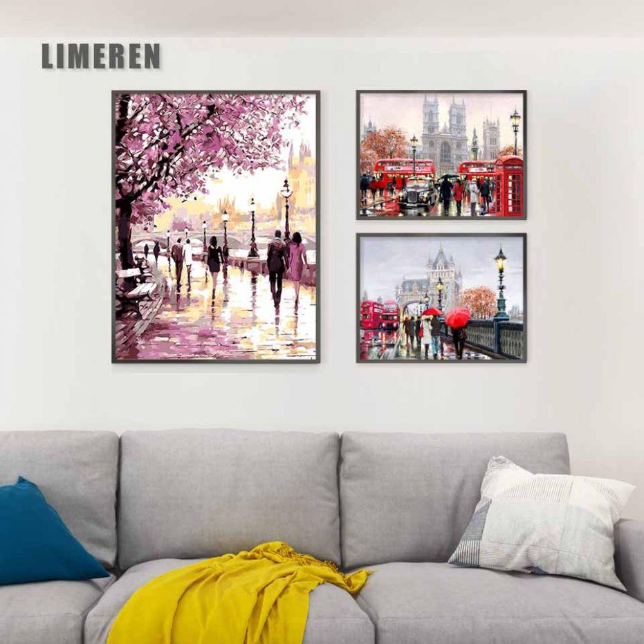 US $12.12 12% OFF|New UK London Street Landscape Painting By Numbers On  Canvas DIY Handpainted Wall Pictures Coloring By Number Art For Home ...