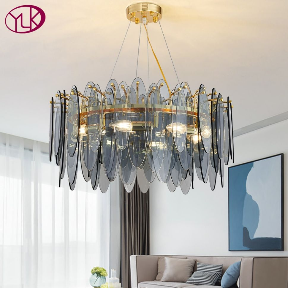 US $12.12 12% OFF Youlaike new modern chandelier lighting for living room  round smoke gray glass lamps home decor light fixtures led ..