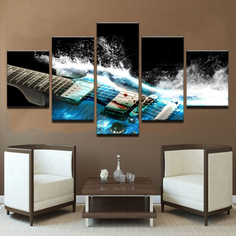 US $12.12 |Artryst Canvas Wall Art Pictures Home Decor Living Room 12 Pieces  Abstract Blue Guitar Paintings Modular HD Prints Poster Frame|Painting & ..