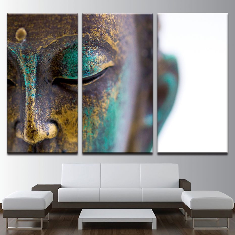 US $8.8 |Canvas Paintings Wall Art Home Decor 8 Pieces Buddha Statue Face  Pictures Home Decor HD Prints Poster For Living Room Framework|Painting &  ...