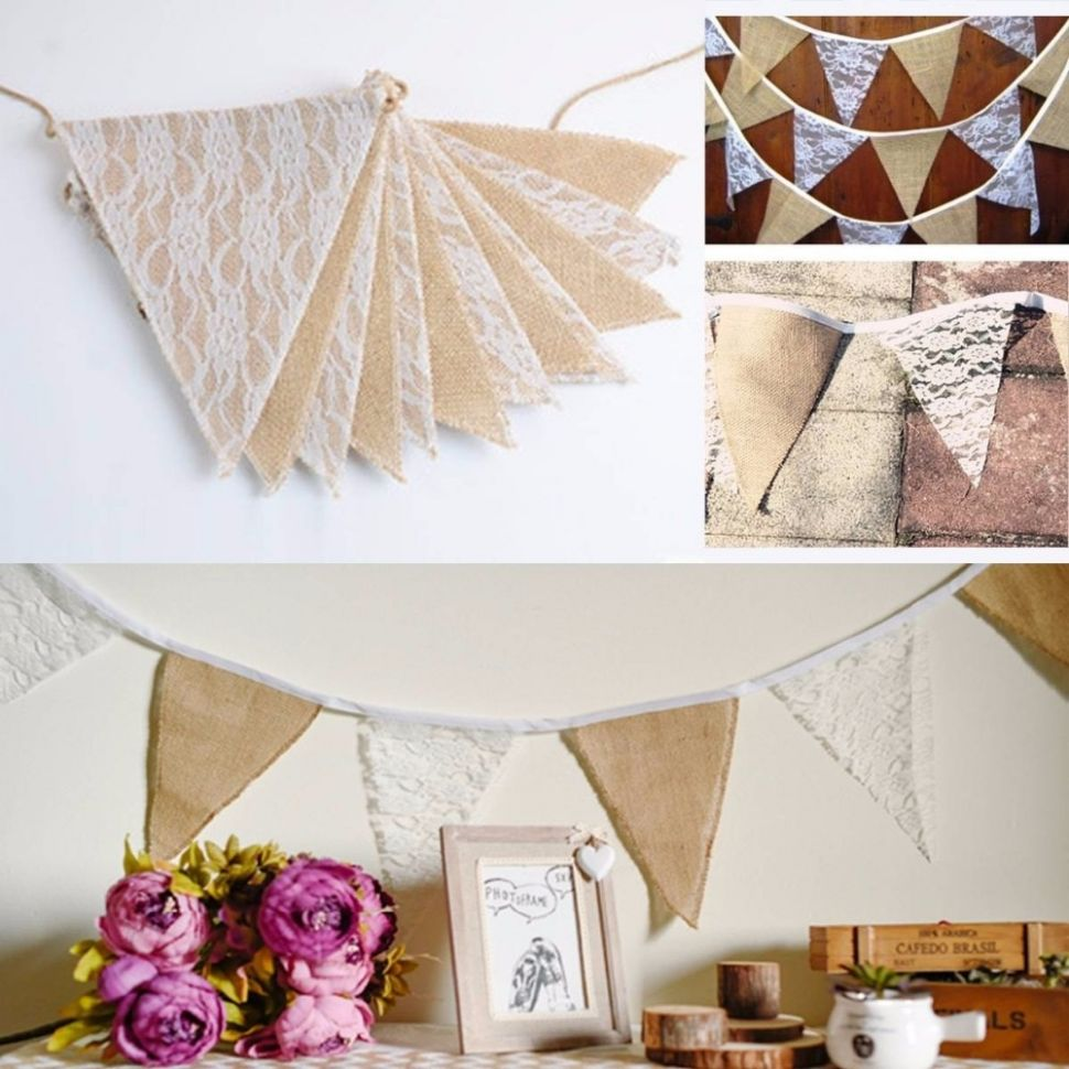 US $8.8 |DIY home decoration banner /event party supplies flag/Rustic  Hessian garland& lace bunting / Country wedding decor|decoration  banner|party ..