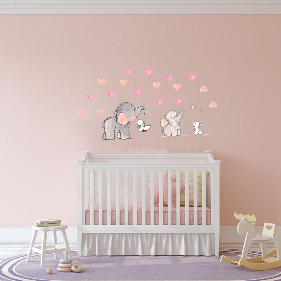 US $9.29 9% OFF|wall Sticker for baby room Cute animal elephant rabbit  vinyl wall decals for kids nursery girls room wall decoration|Wall  Stickers| - ..