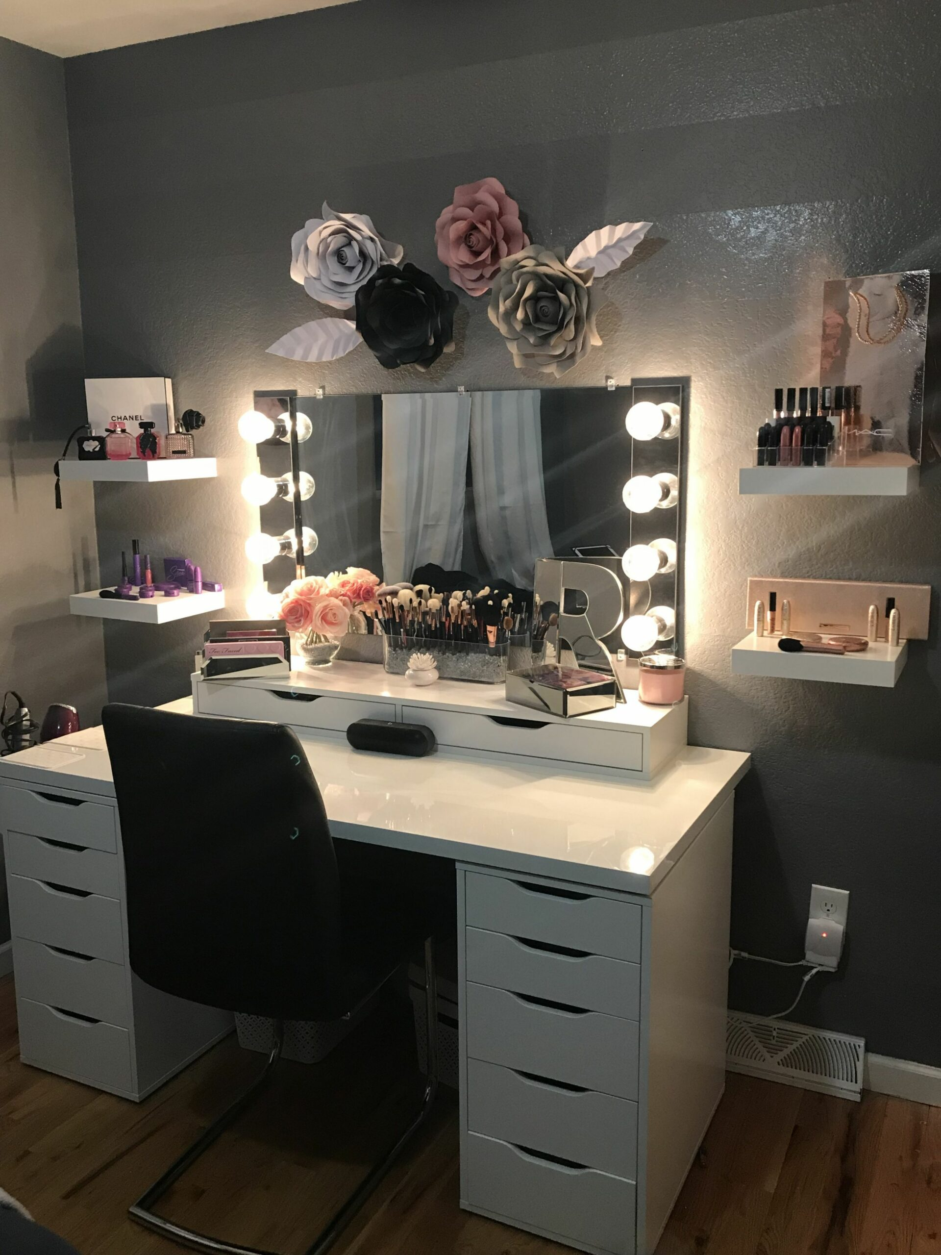 Vanity, Beauty Room, Ikea Alex, Makeup Room, Paper Roses, decor ..