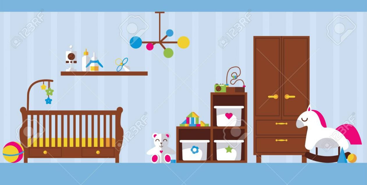 Vector flat interior illustration with newborn kid room. Baby..