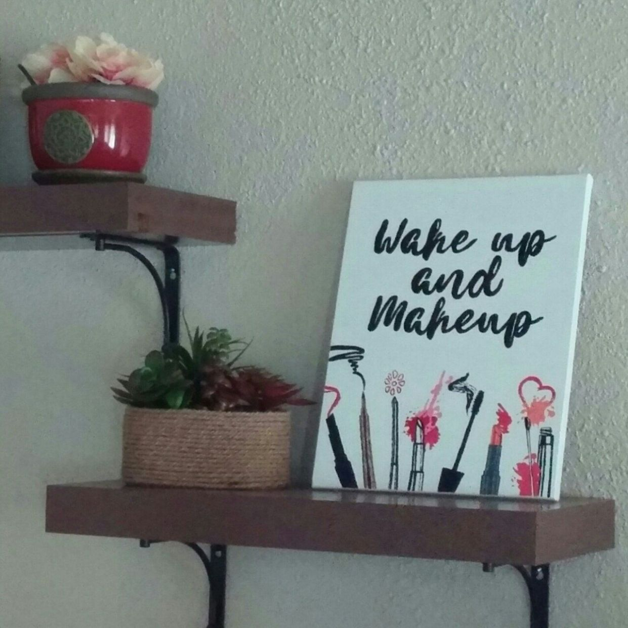 Wake up and makeup hand painted canvas | Makeup canvas, Canvas ..