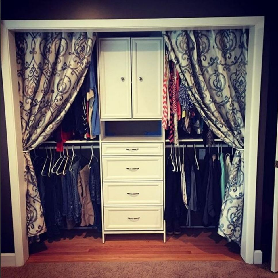 We love this look! Add curtains if you don't have doors on your ...
